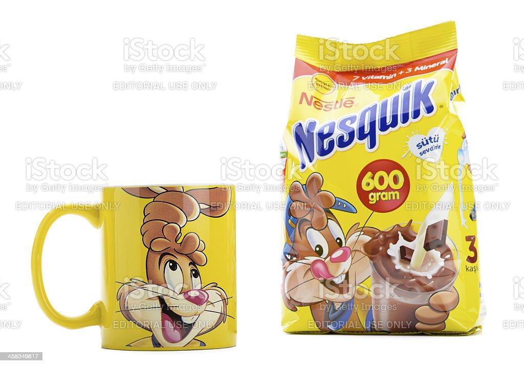 Nesquik Powder and Mug royalty-free stock photo