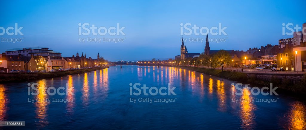 Ness River, Inverness Scotland with Night Lights Panorama stock photo