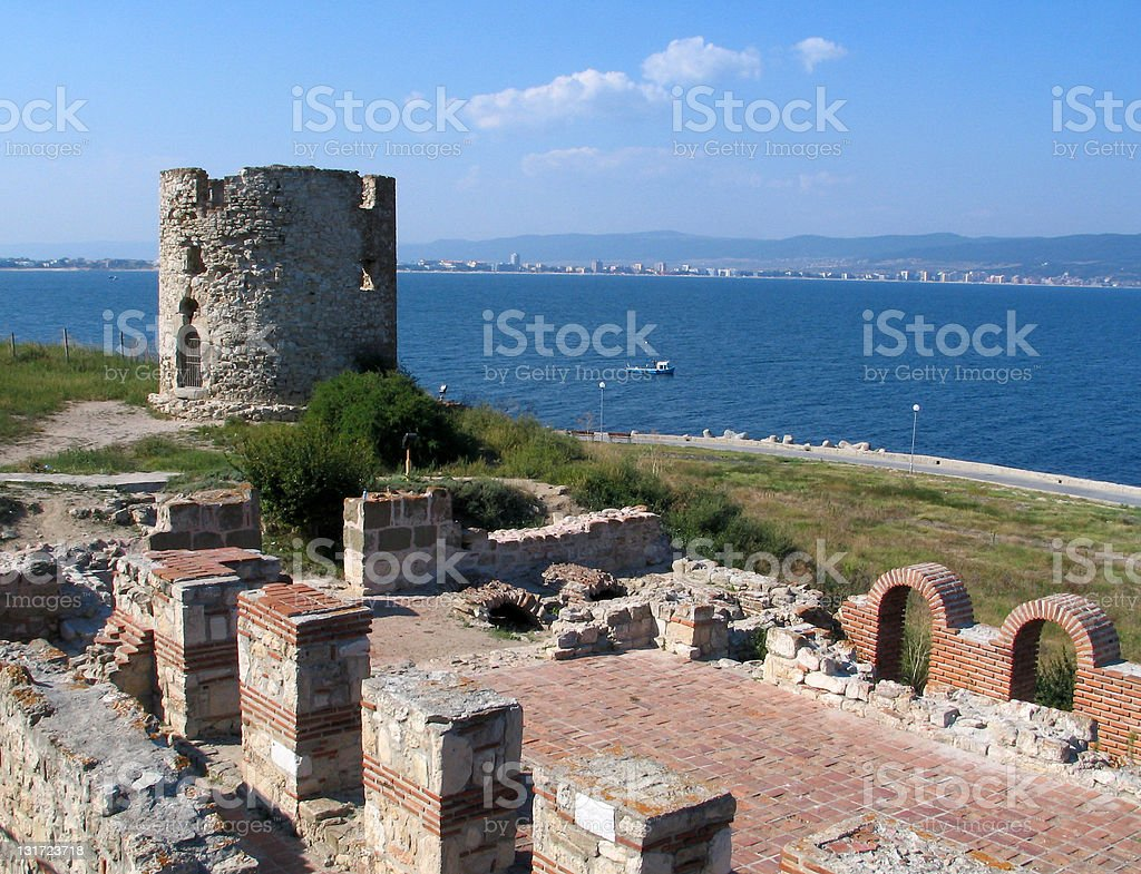 Nessebar tower with wall stock photo