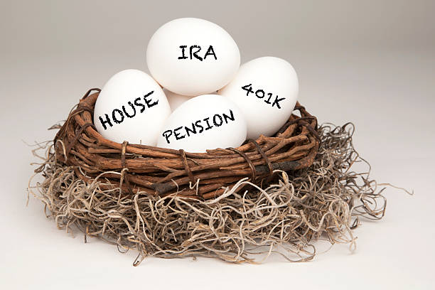 Nest Egg White eggs in a brown nest labelled with IRA, Pension, 401k and House representing a typical nest egg. nest egg stock pictures, royalty-free photos & images