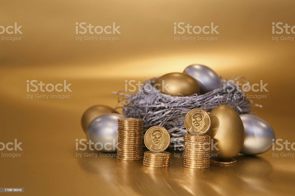 Nest Egg with Gold Coins stock photo