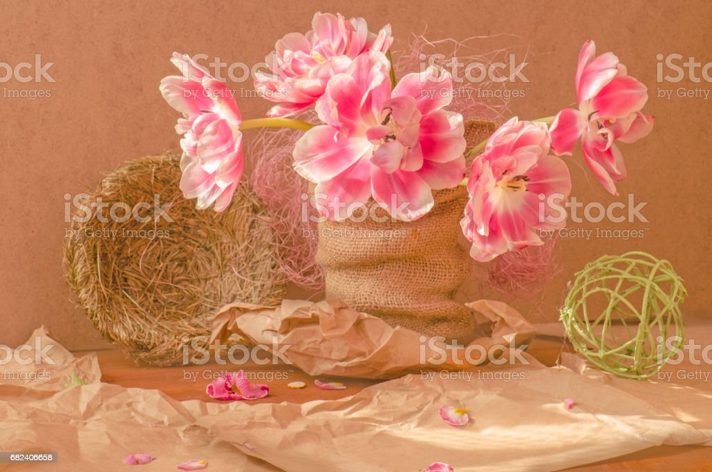 Nest, fresh pink tulips on wooden background. royalty-free stock photo