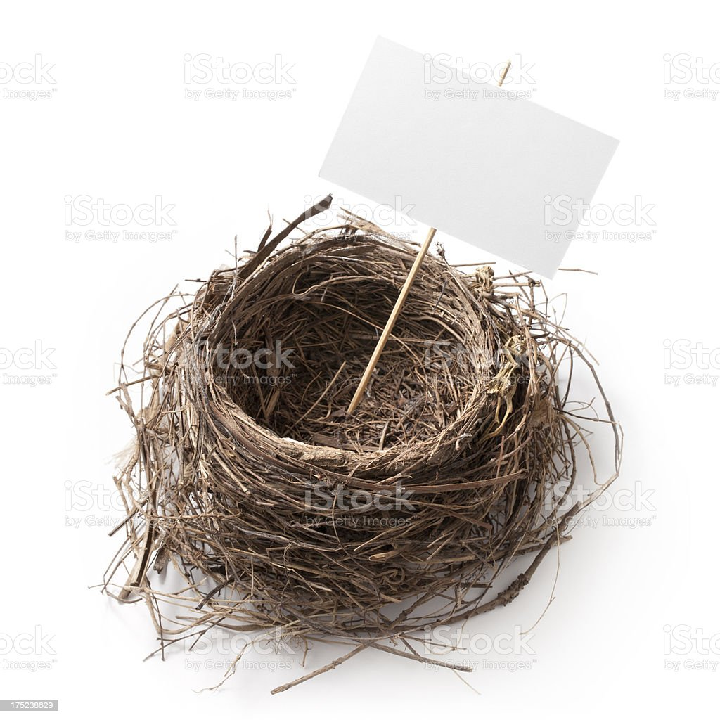 Nest with white sign stock photo