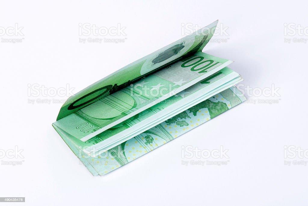 Nested of One Hundred Euro Isolated on White Background stock photo