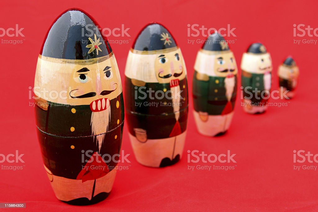 Nesting Nutcrackers on Red royalty-free stock photo
