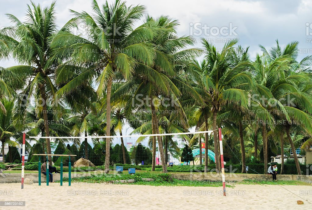 Net for playing volleyball at the China Beach in Danang stock photo