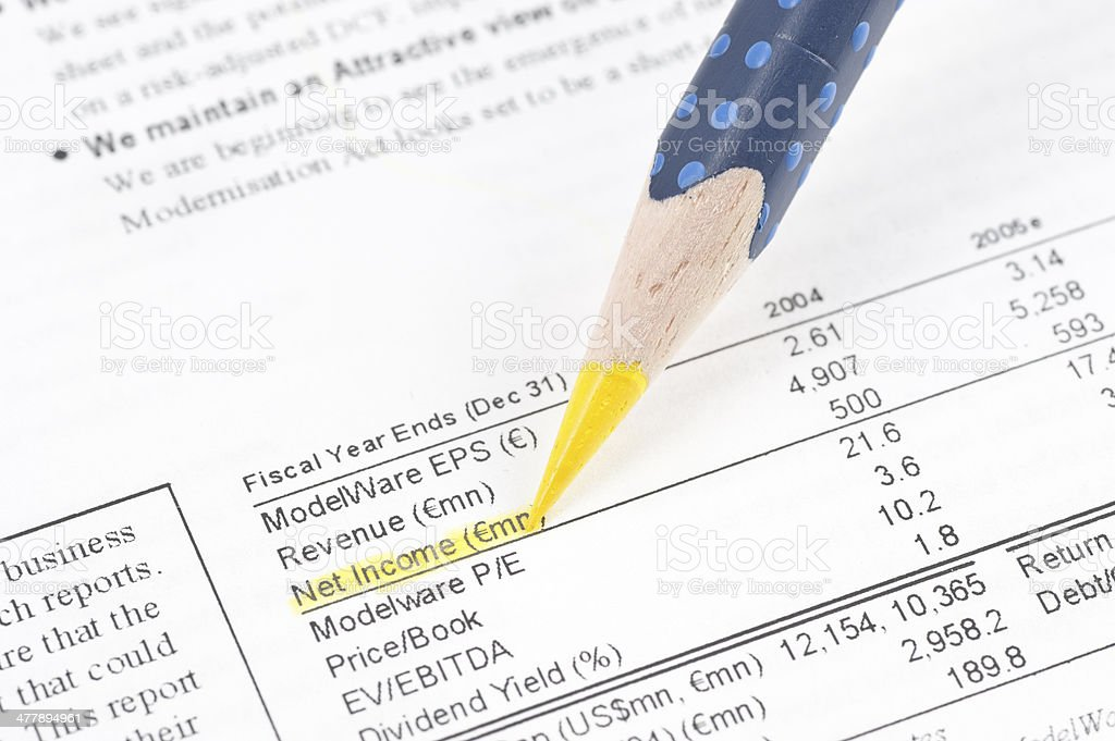 net income highligted in balance sheet royalty-free stock photo