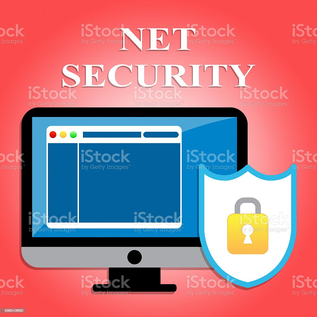 Net Security Shows Protected Web Site And Communication photo libre de droits