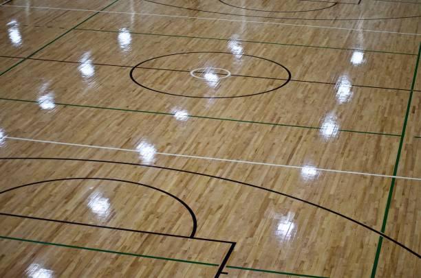 netball en basketbalveld binnenshuis - netball stockfoto's en -beelden