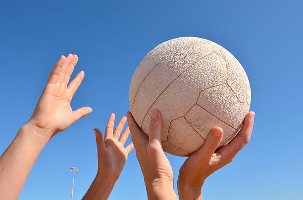 Netball Players playing netball stock photo