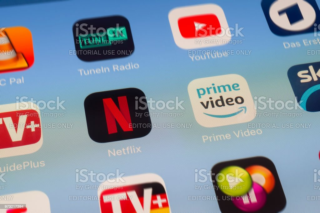 Netflix, Amazon Prime and other video streaming Apps on iPad screen stock photo