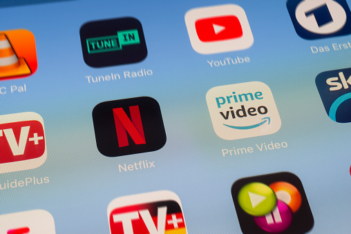 Netflix Amazon Prime And Other Video Streaming Apps On Ipad Screen Stock Photo - Download Image Now