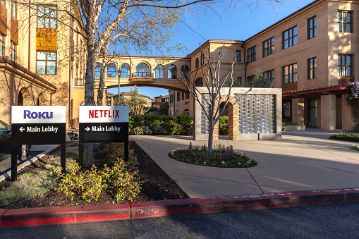 Netflix And Roku Signs At Headquarters In Los Gatos California Stock Photo - Download Image Now