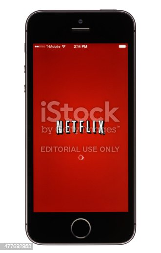 Colorado Springs, Colorado, USA - November 15, 2013: The Netflix app on an Apple iPhone 5s running iOS7.
