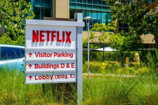 Netflix logo in front of their headquarters July 30, 2018 Los Gatos / CA / USA - Netflix logo in front of their headquarters situated in Silicon Valley; south San Francisco bay area netflix stock pictures, royalty-free photos & images