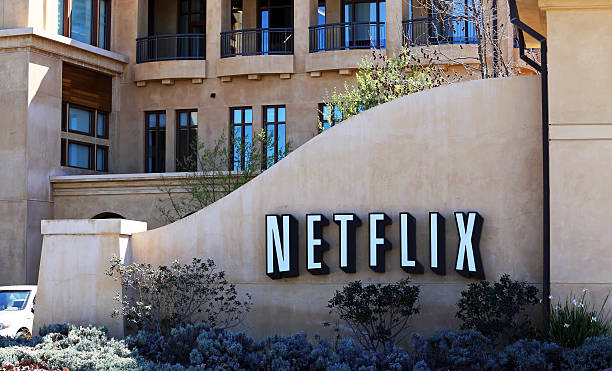 Netflix World Headquarters Los Gatos, California, USA – March 18, 2014: The Netflix world headquarters building located in Los Gatos. Founded in 1997, Netflix is an American company specializing in video rental and media streaming services. netflix stock pictures, royalty-free photos & images