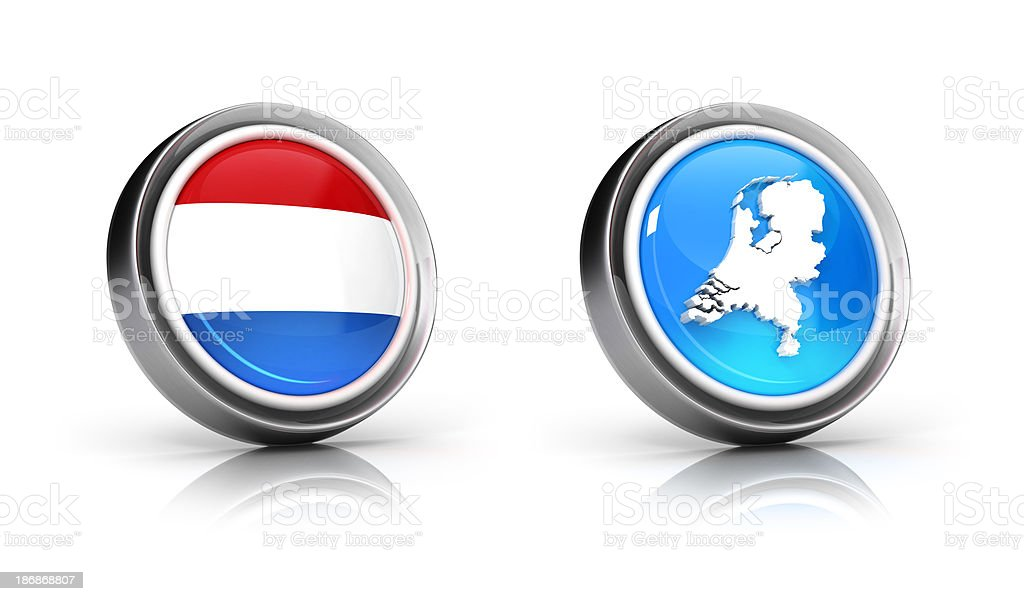 Netherland Map and Flag Icons royalty-free stock photo