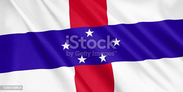1056280906 istock photo Netherlands Antilles flag waving with the wind, wide format, 3D illustration. 3D rendering. 1056409804