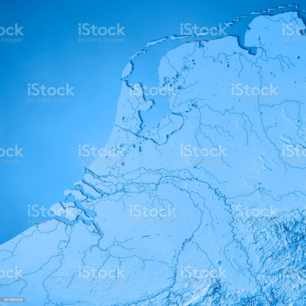 Netherlands Topographic Map.Netherlands Country 3d Render Topographic Map Blue Stock Photo