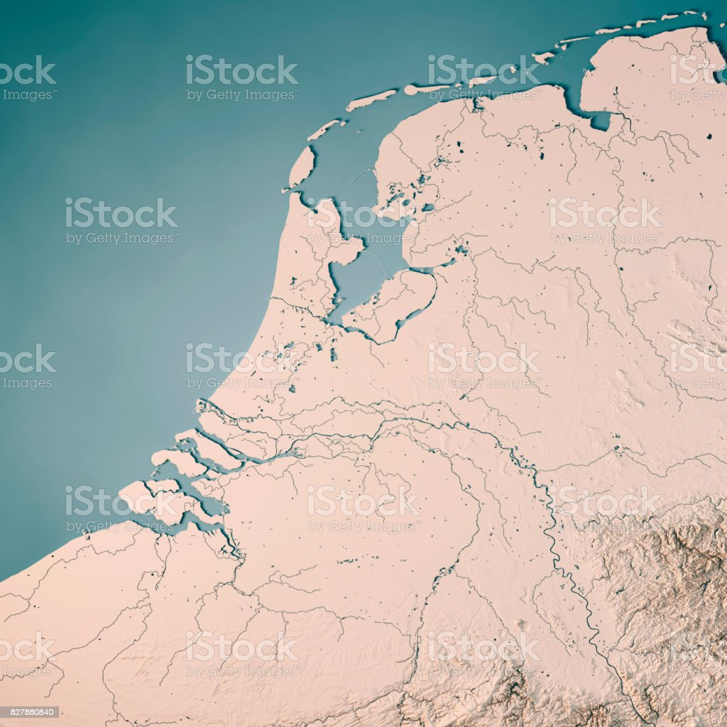 Netherlands Topographic Map.Netherlands Country 3d Render Topographic Map Neutral Stock Photo