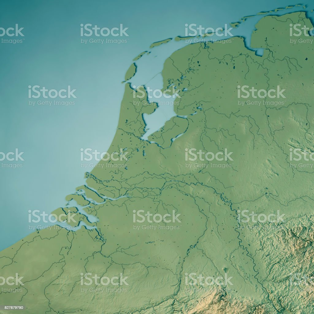 Netherlands Topographic Map.Netherlands Country 3d Render Topographic Map Stock Photo More