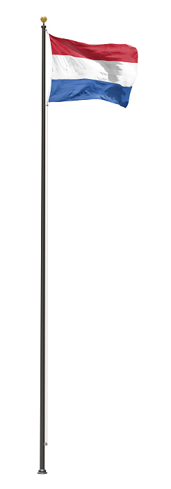 Netherlands flag on a pole, isolated on a white background