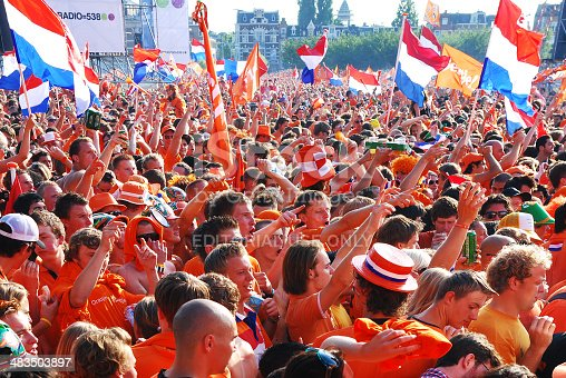 Amsterdam, Netherlands- June 09, 2010: Thousands of Holland football fans watching the national team playing a World Cup match on a large screen near the Rijksmuseum in Amsterdam.