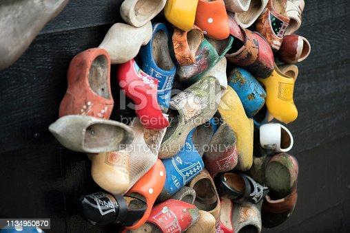 Netherlands. Holland. Zaanse Schans december 2018. traditional Dutch wooden shoes.