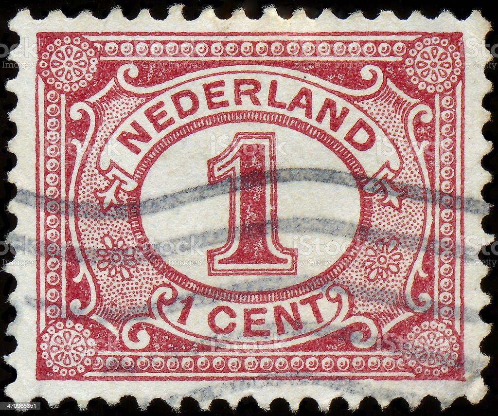 Netherlands Stamp Numeral 1 Cent royalty-free stock photo