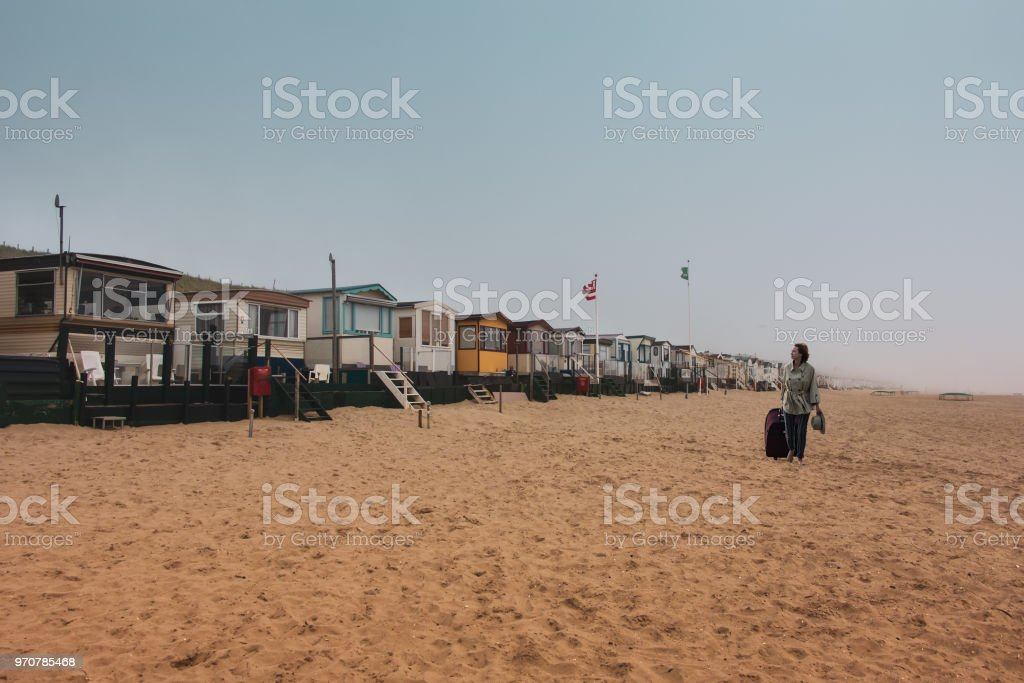 Netherlands summer season is coming. Beach accommodation, house on seafront of North-Sea stock photo