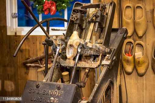 istock ZAANSE SCHANS, Netherlands. vintage machines for the production of wooden shoes 1134950825