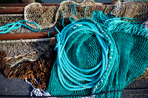 nets and ropes, equipment on a fishing boat