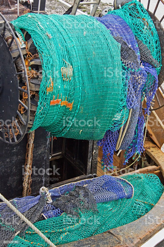 Nets at the stern of a fishing vessel UK stock photo