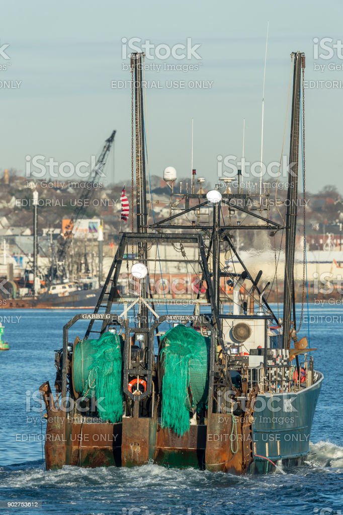 Nets in stern view fishing vessel Gabby G. stock photo