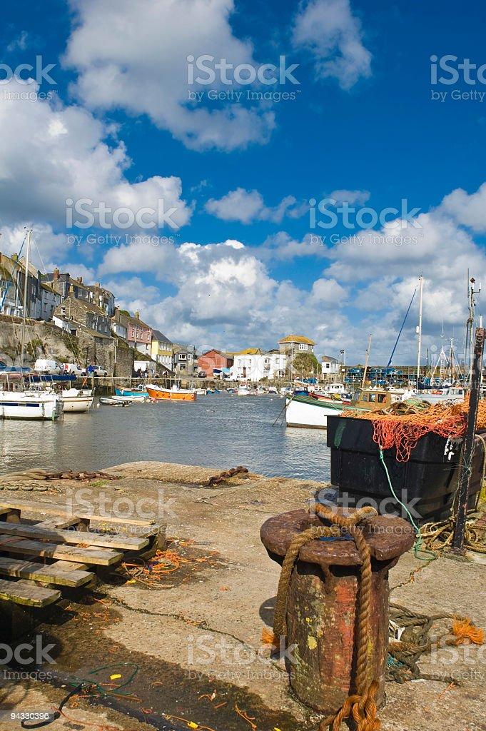 Nets, moorings and fishing boats royalty-free stock photo