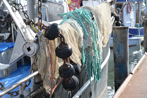 nets, weights and ropes, equipment on a fishing boat, selected focus