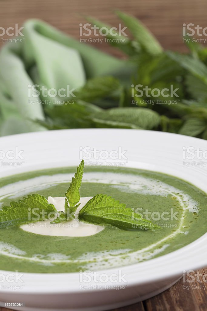 Nettle cream soup royalty-free stock photo