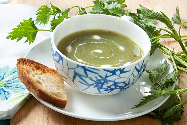 Nettle Soup with Creme Fraiche stock photo
