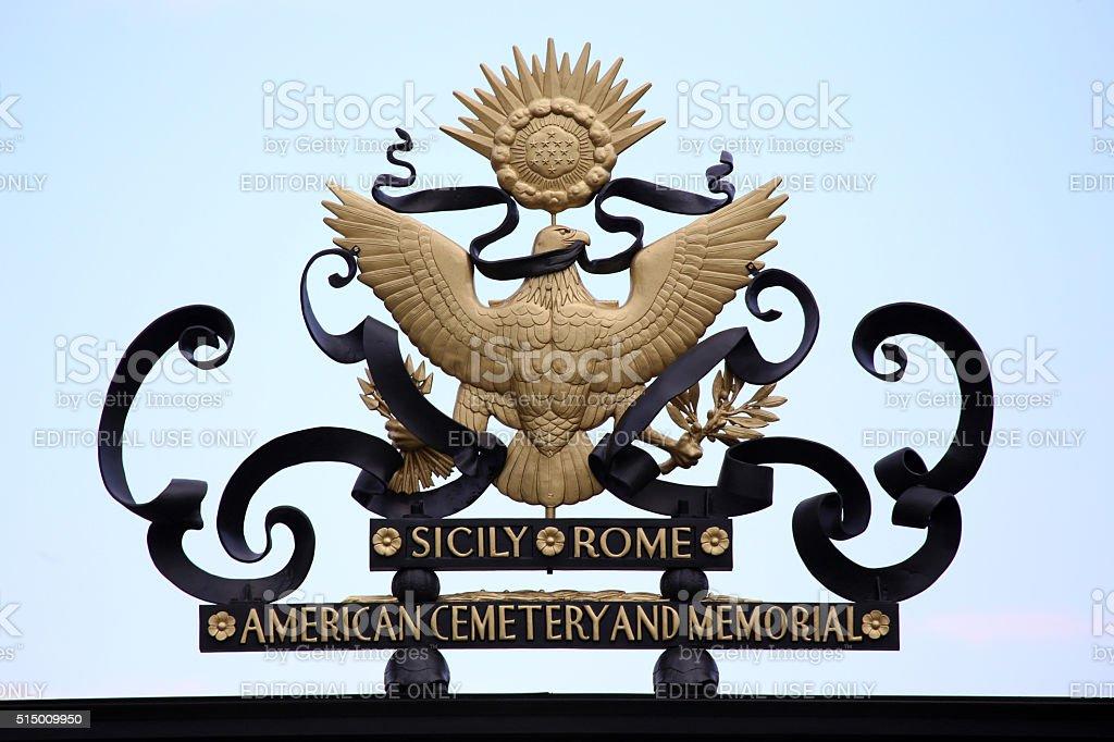 Nettuno, Italia: American symbol on main entrance stock photo