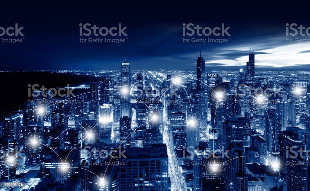 Network and Connection Technology Concept of Chicago City, Chicago, illinois, USA stock photo