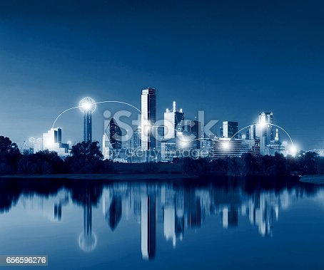 istock Network and Connection Technology Concept of Dallas Skyline Reflection at Dawn, Downtown Dallas, Texas, USA 656596276