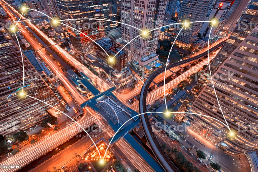 Network and Connection Technology Concept of Sathorn Intersection, BTS Chong nonsi, Downtown Bangkok, Thailand stock photo