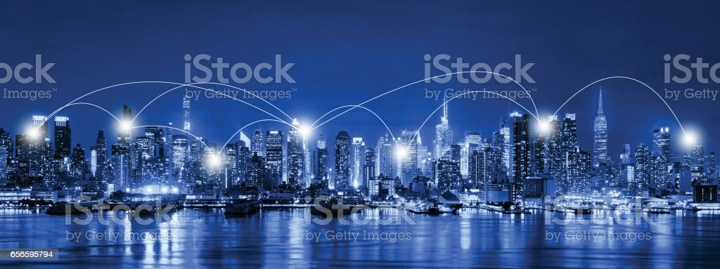 Network and Connection Technology Concept of Skyline of New York City at night, Skyscrapers, downtown, USA stock photo