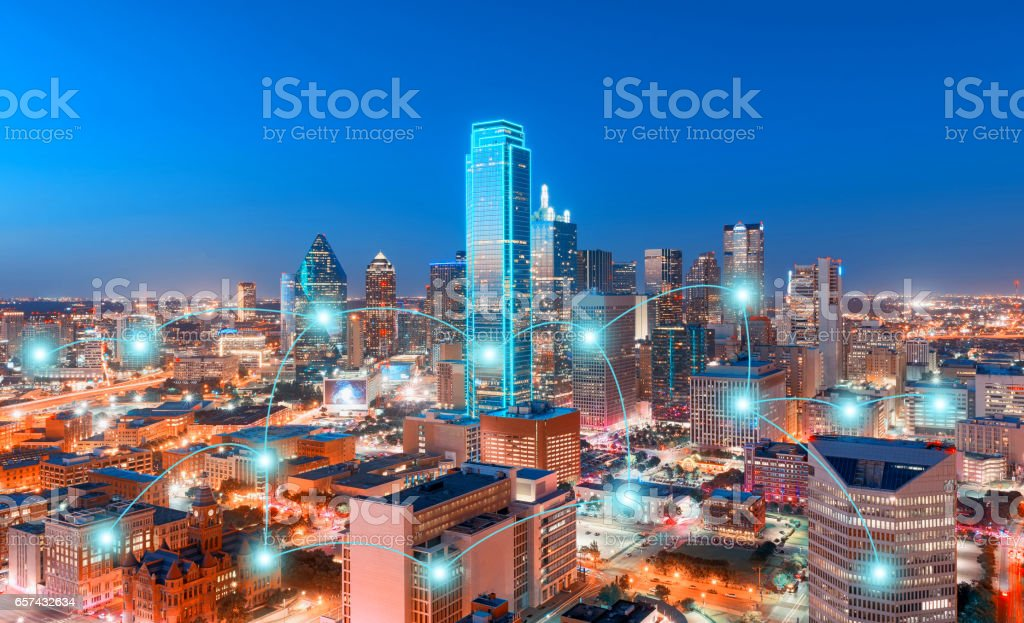 Network and Connection Technology Concept of Skyscrapers, City of Dallas, Texas, USA stock photo