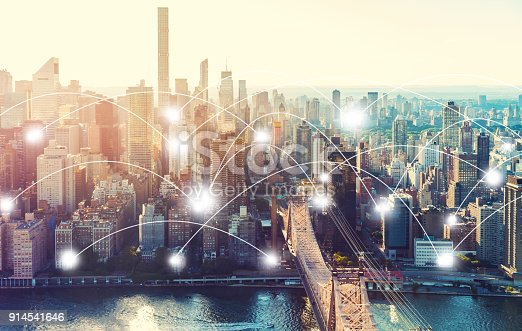 istock Network and connection technology concept with New York 914541646
