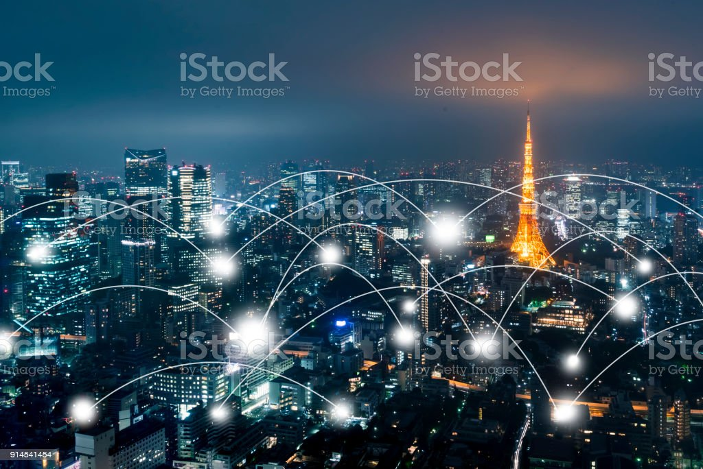 Network and connection technology concept with Tokyo stock photo