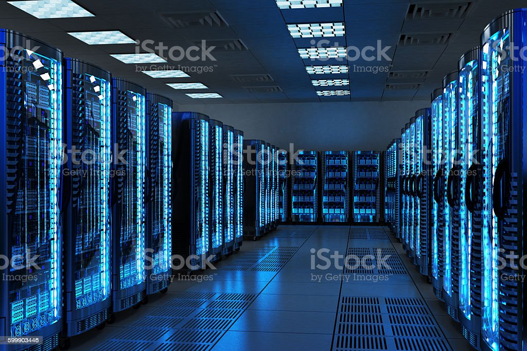 Network and internet communication technology concept, data center interior stock photo