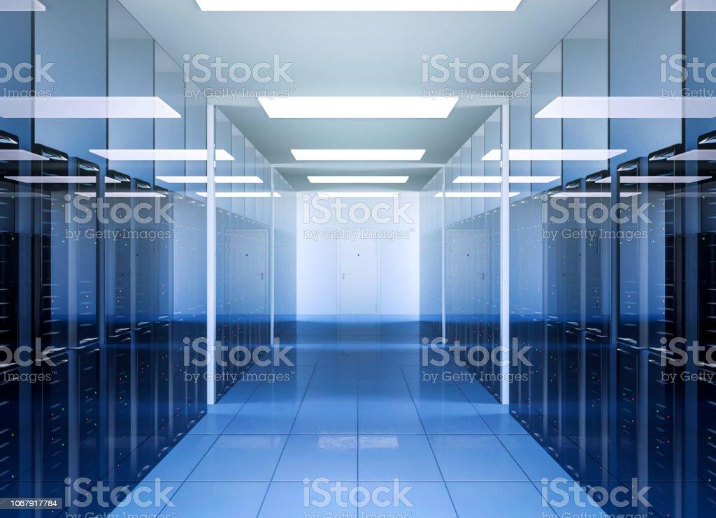 Netzwerk und Internet-Kommunikations-Technologie in Data Center Server Innenraum – Foto