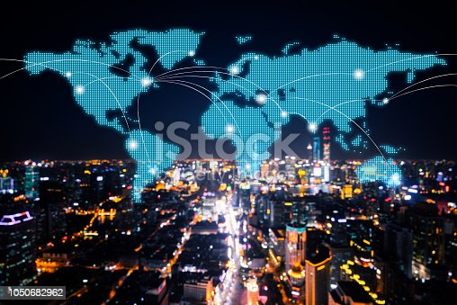istock Network and world map of China 1050682962