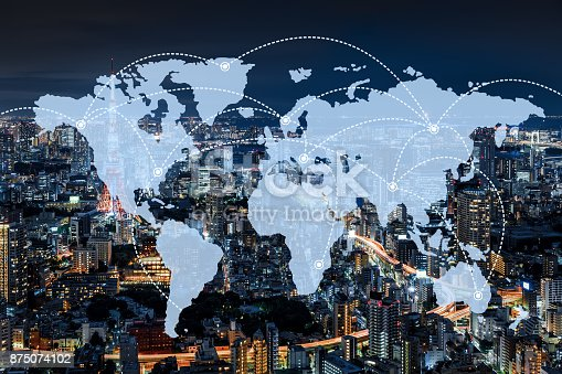 istock Network and world map  of Japan 875074102